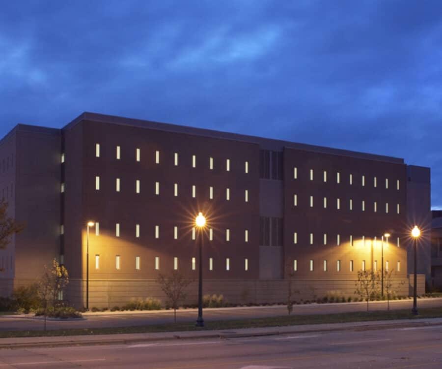 Exterior dusk view of the original Minnehaha County Jail.