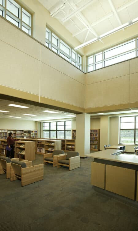 The MSOP-Moose Lake library features reading resources, clerestory windows, and comfortable reading chairs.