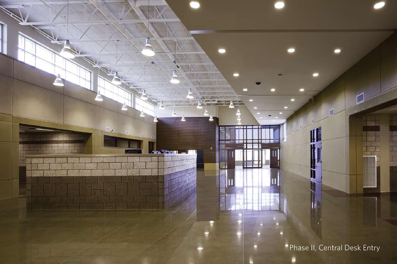 The central desk entry and atrium.