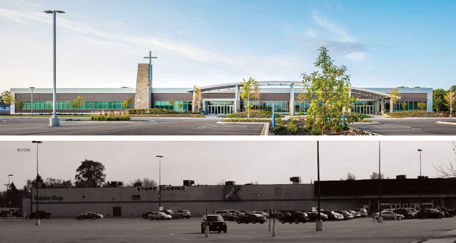 Before and after exterior comparisons of the Eagle Brook Church Anoka campus.