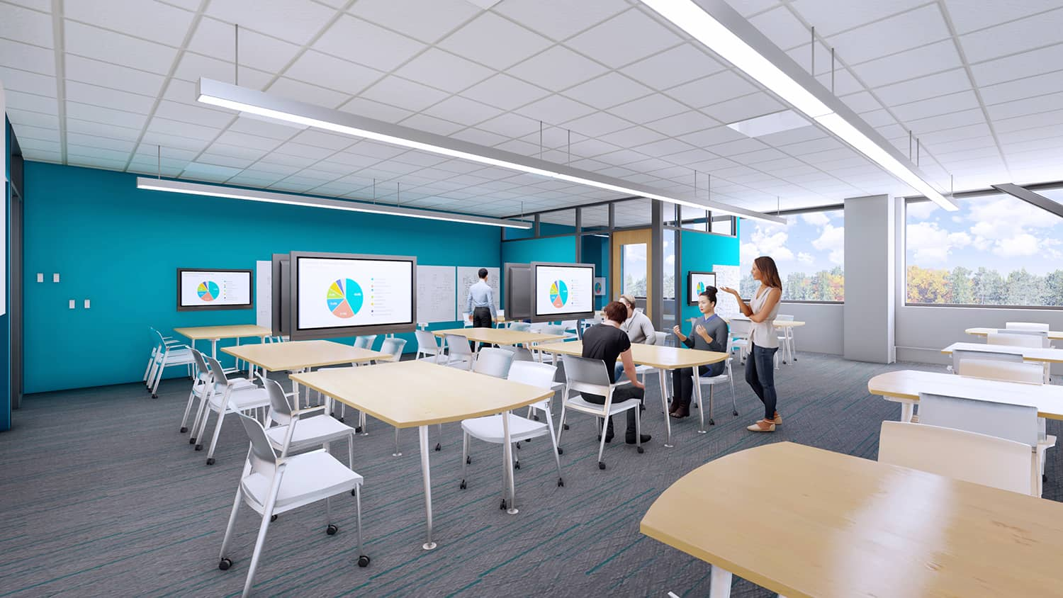A senior design lab/classroom with large monitors for easy discussion.
