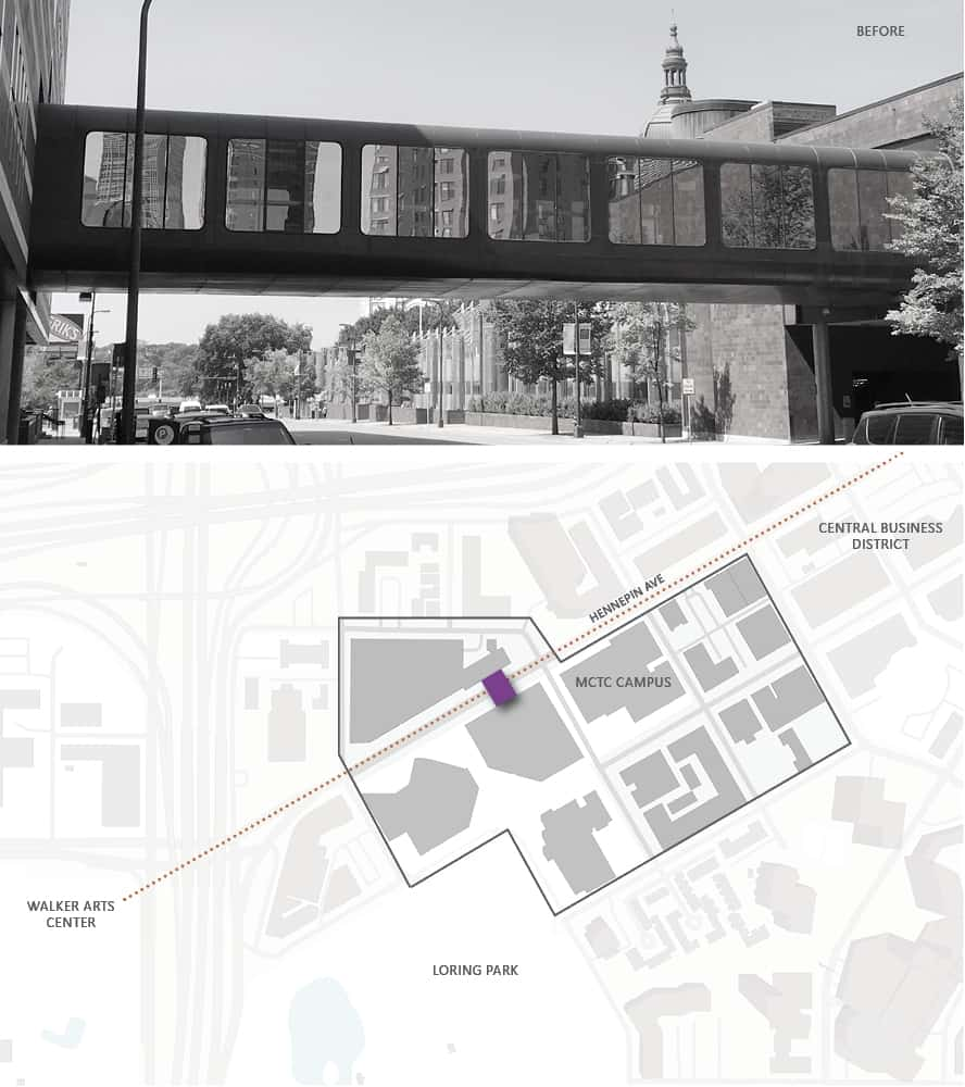 Before image of the skyway and accompanying site diagram showing proximity to downtown locations.