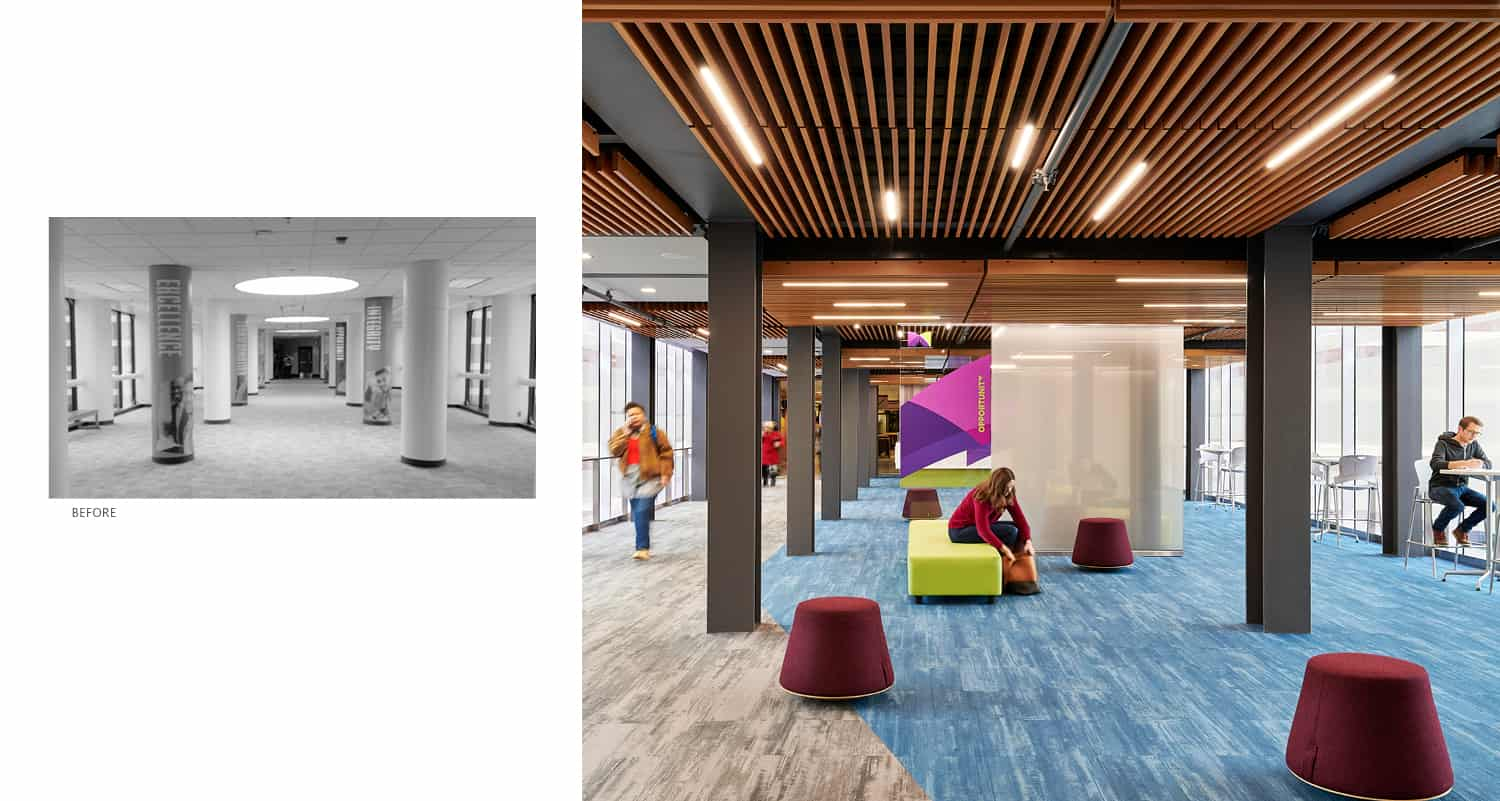 Before and after views of the skyway's main corridor.
