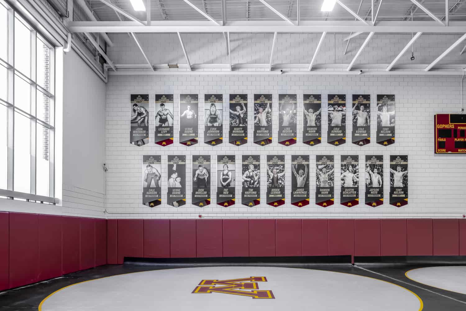 University of Minnesota Gopher Wrestling Training Facility Champions Wall