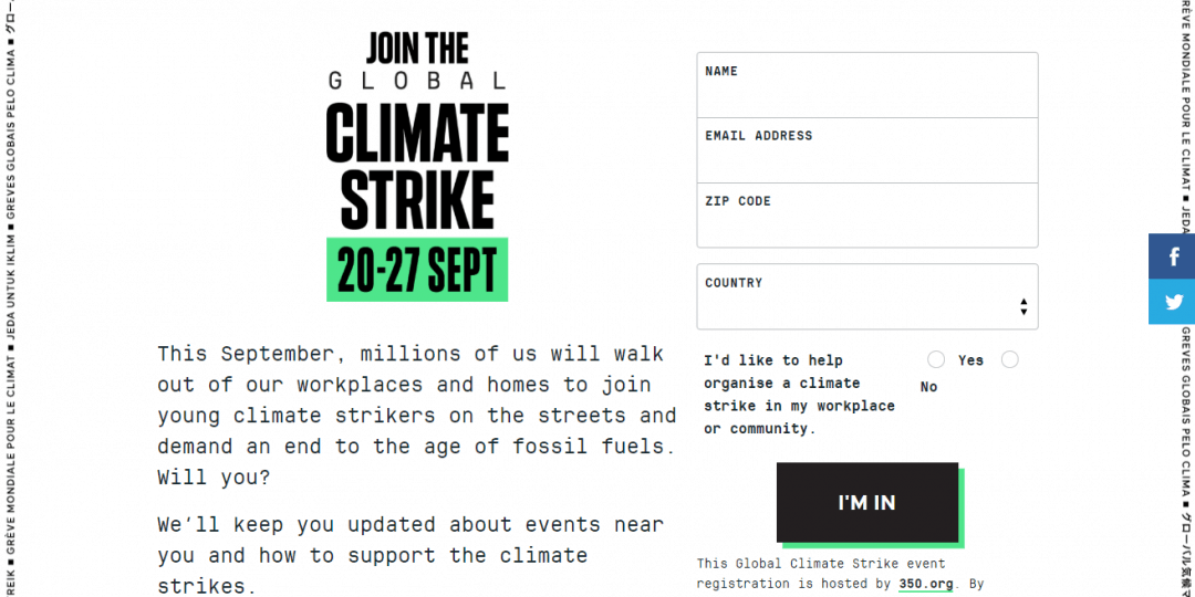 Support for Global Climate Strike