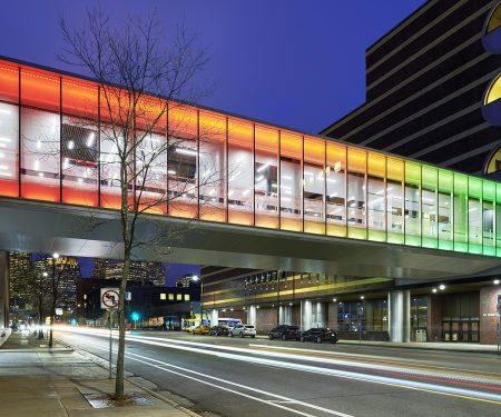 Exterior view of the MCTC skyway with the rainbow light effect.