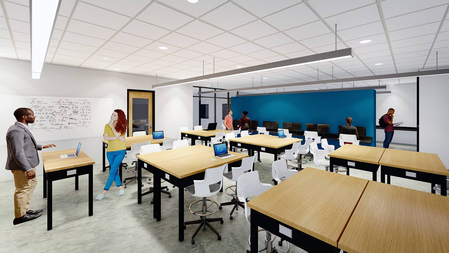 A senior design lab classroom with moveable furniture and a teal accent wall.