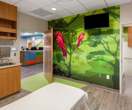 Footwall and view to the nurses station from a patient room featuring a parrot wall mural.