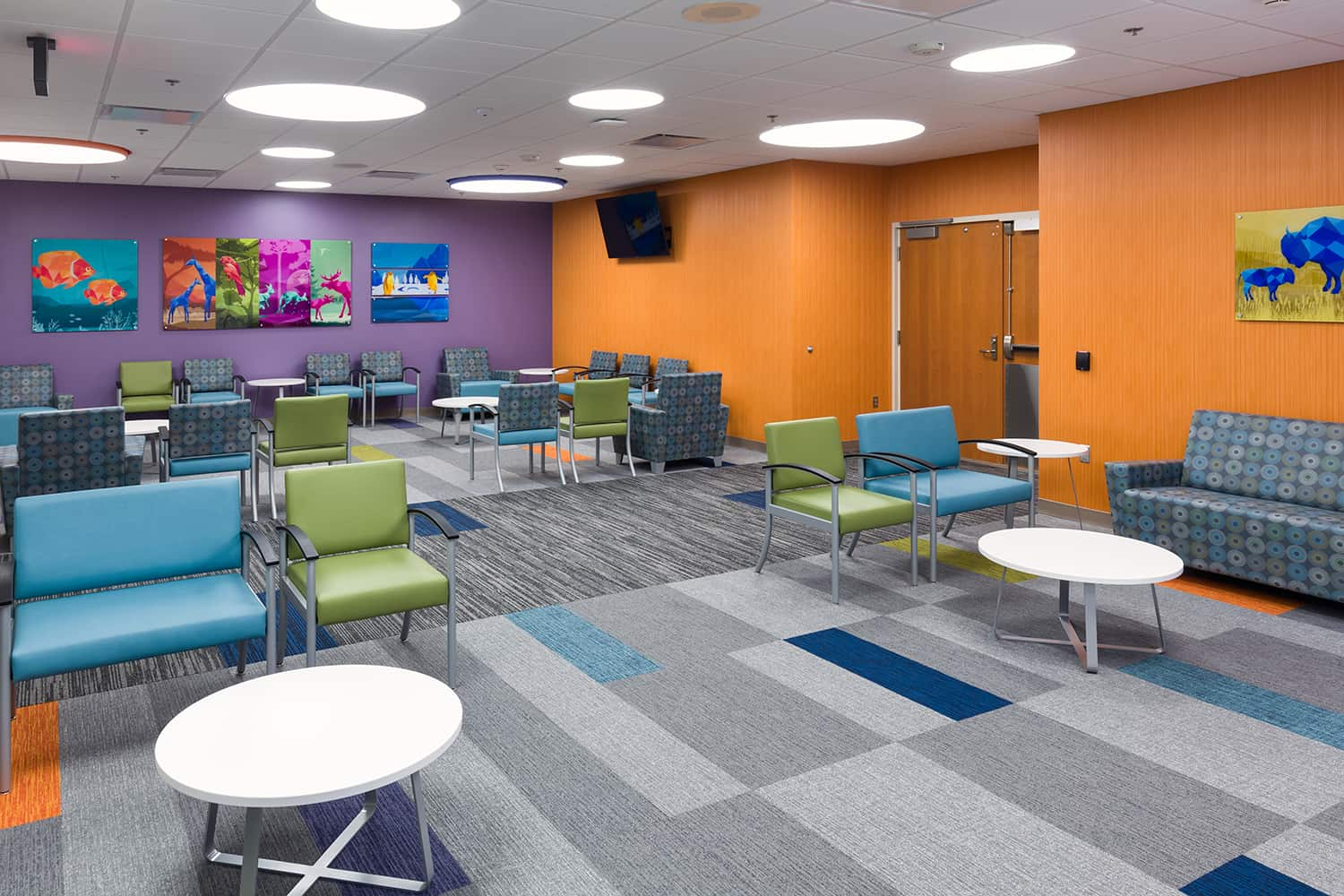 A color waiting room for the pediatric unit.