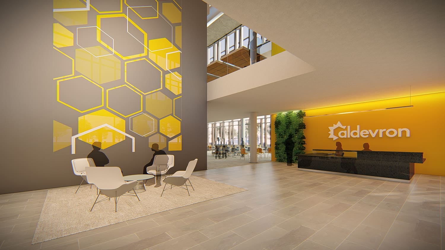 Entry into the community space, featuring branded hexagon wall graphics.