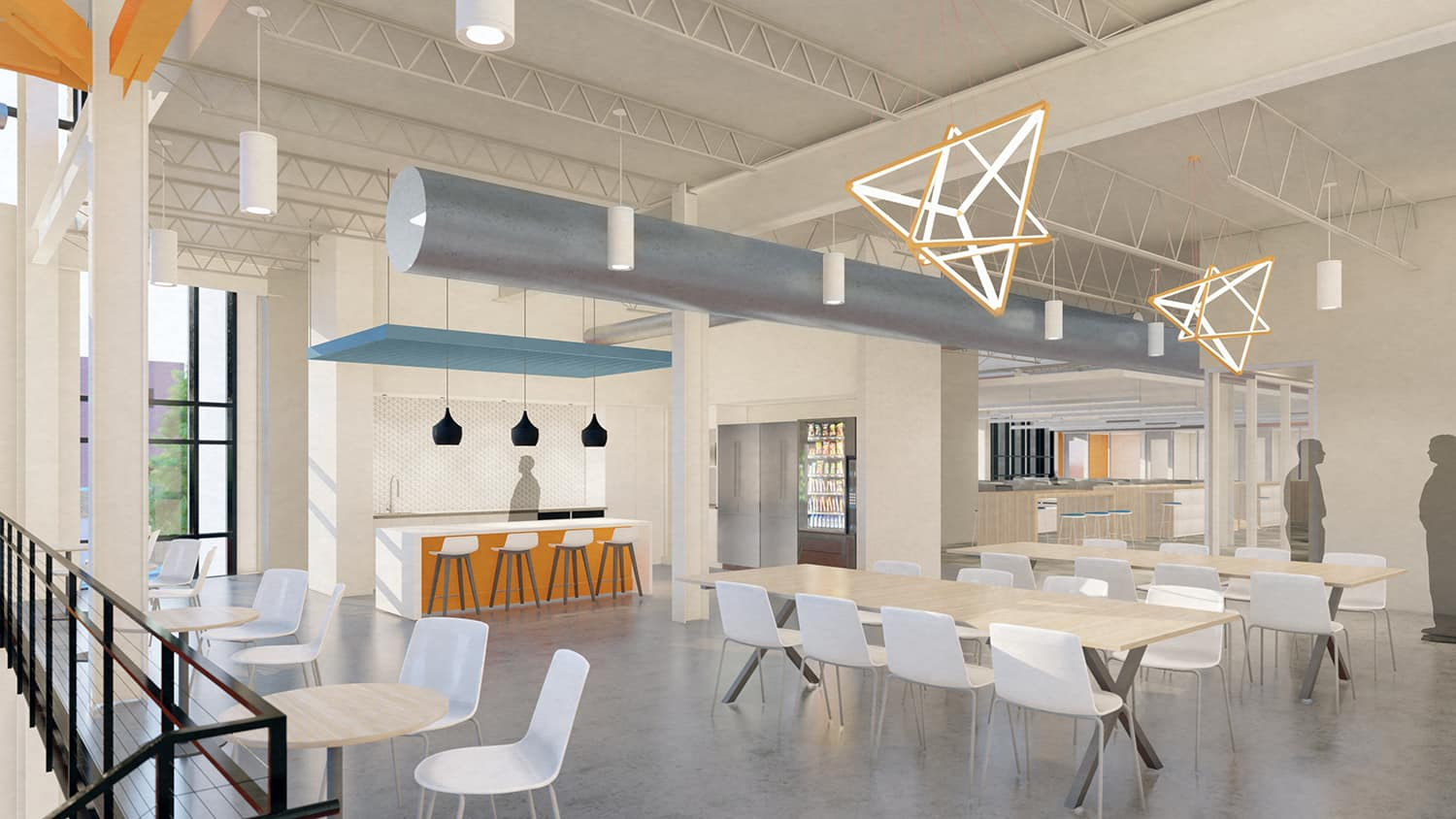 A fresh interior cafe setting with open seating and access to the adjacent work neighborhood.