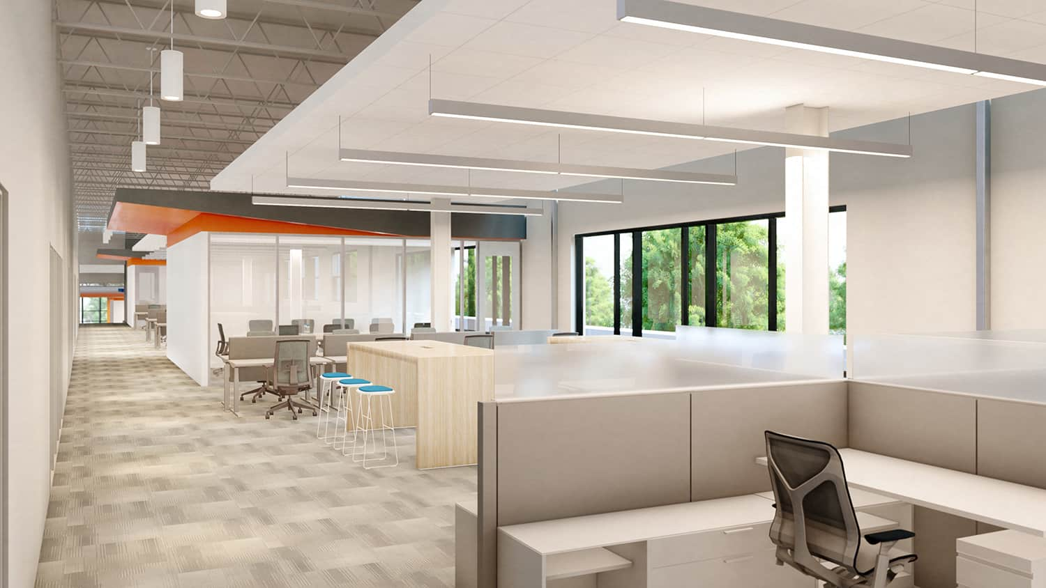 An open workstation neighborhood with drop-in collaboration bars and transparent conference rooms.