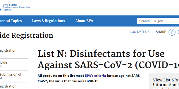 EPA List of Disinfectants for COVID-19
