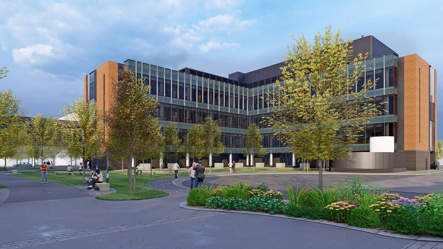 An exterior rendering of the overall scale of the new Science Hall.