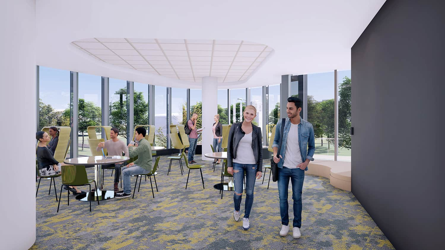 A rendering of a student space with open study areas and access to natural daylight.