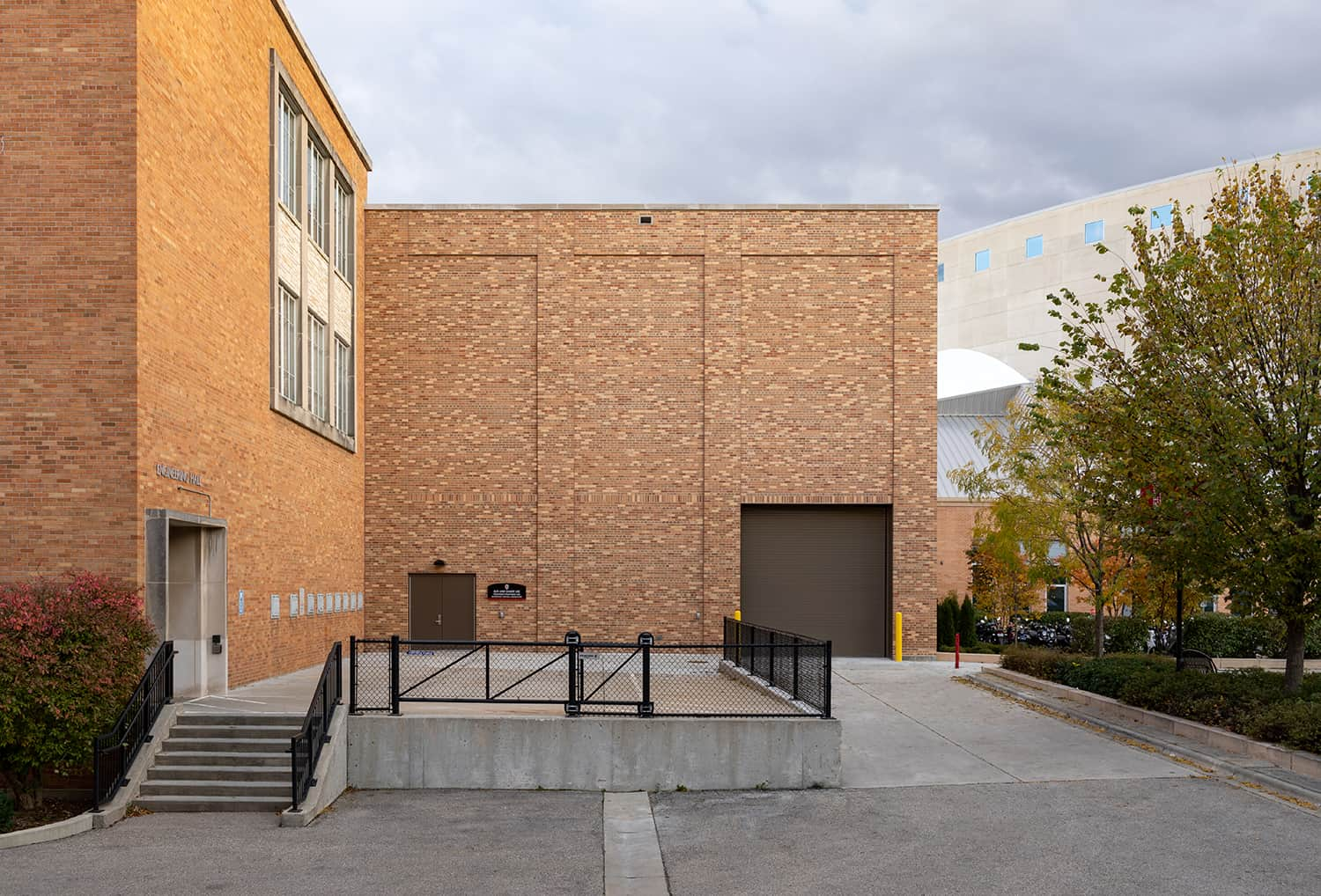 Exterior view of the lab entry and materials loading dock door.