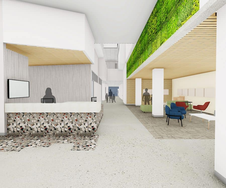 Interior reception desk and seating area.