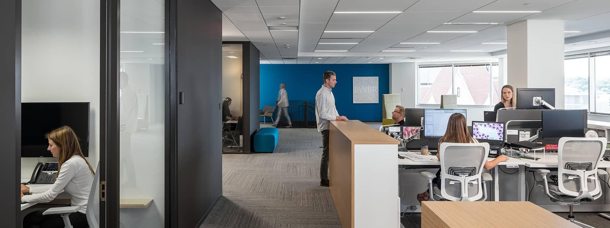 Workstations in BWBR's Saint Paul, Minnesota headquarters office.