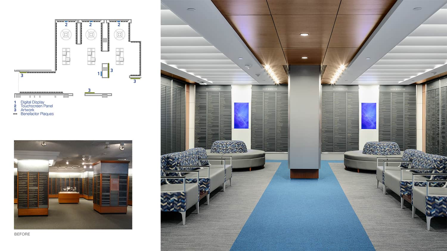 Before and after images of the Hall of Benefactors.