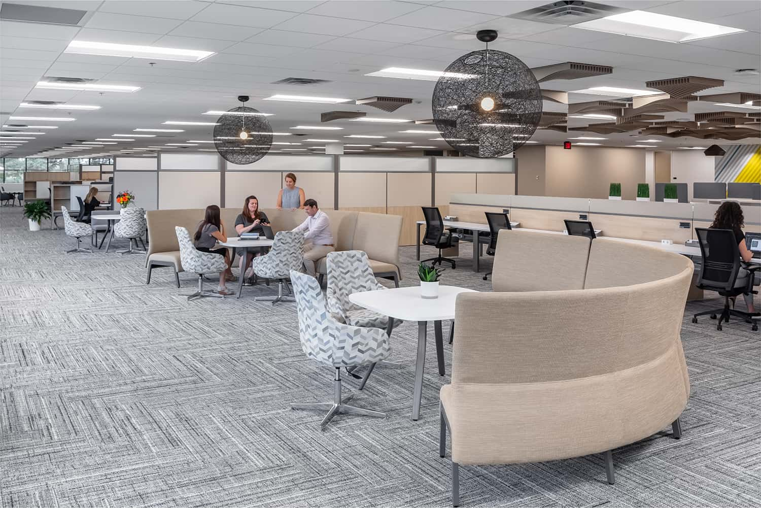 Semi-private workspace with touchdown seating and mid-height cubicles.