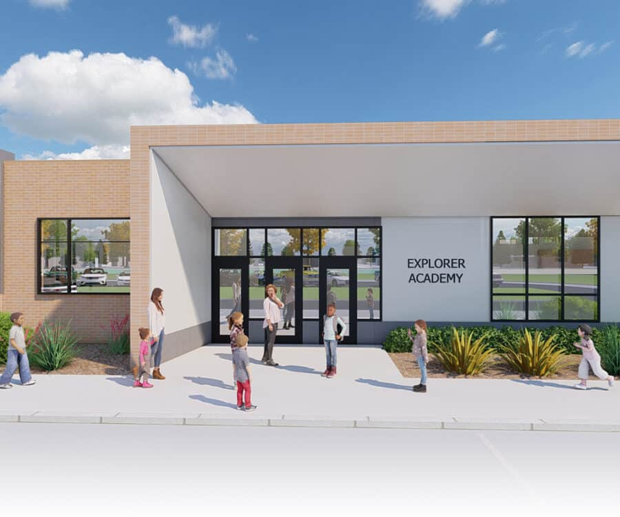 Rendering of the exterior entry to the elementary school.