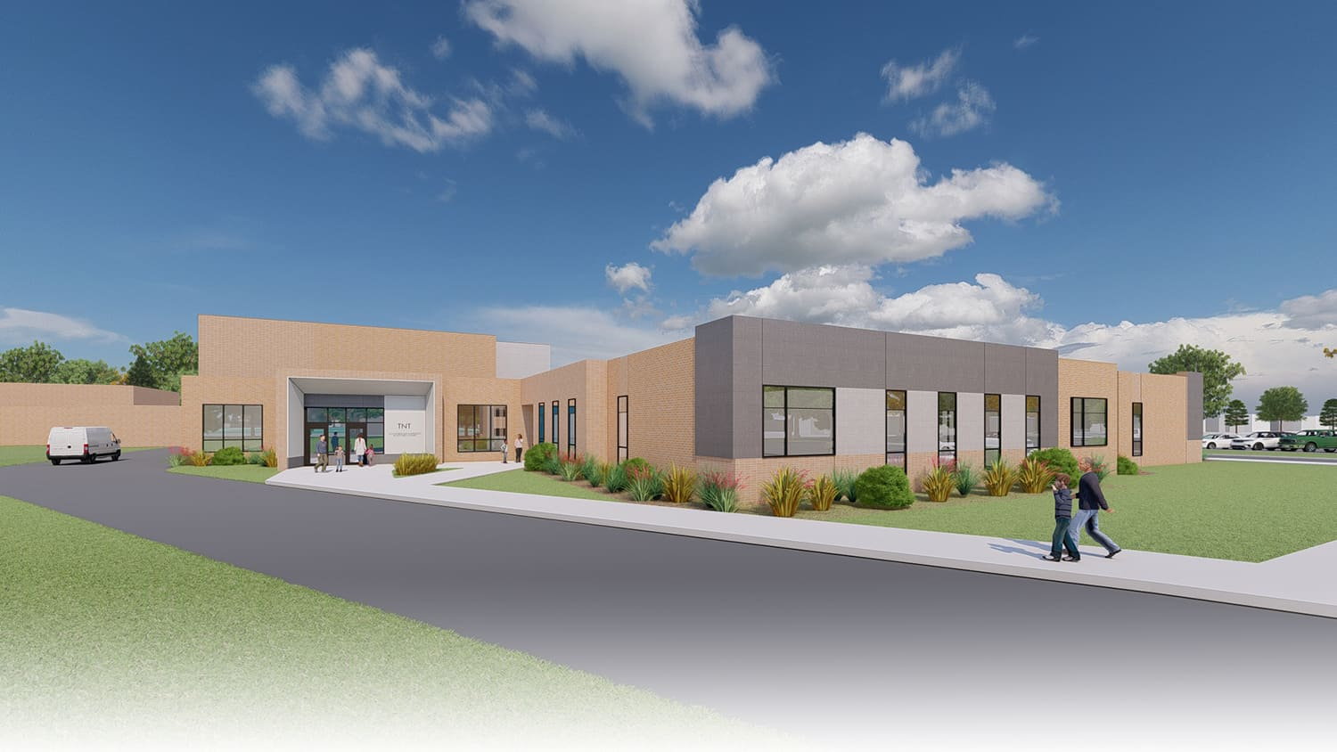Rendering of the exterior entry to the community-based sensory gym.