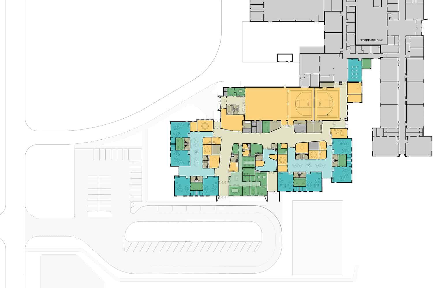 Colored floor plan depicting the Lewis & Clark Elementary School addition.