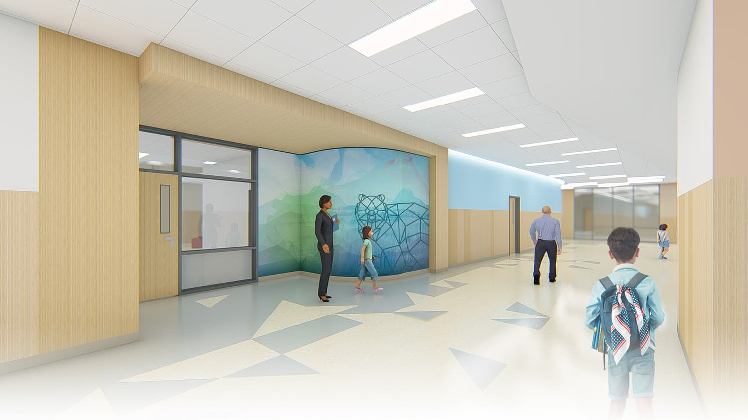 Rendering of an interior classroom entry with a graphic wall mural.