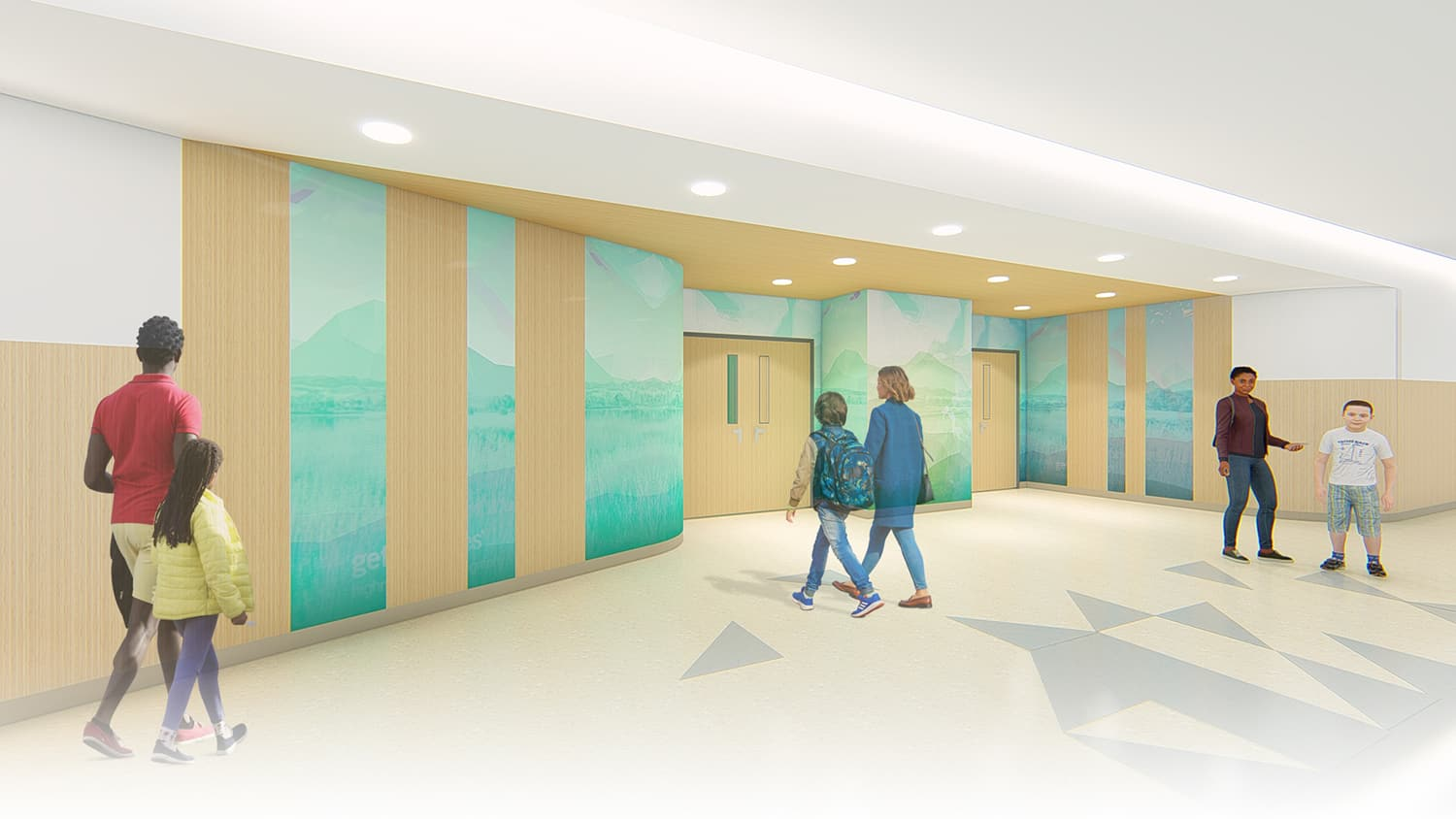 Rendering of an interior corridor with bars of calming landscape graphics.