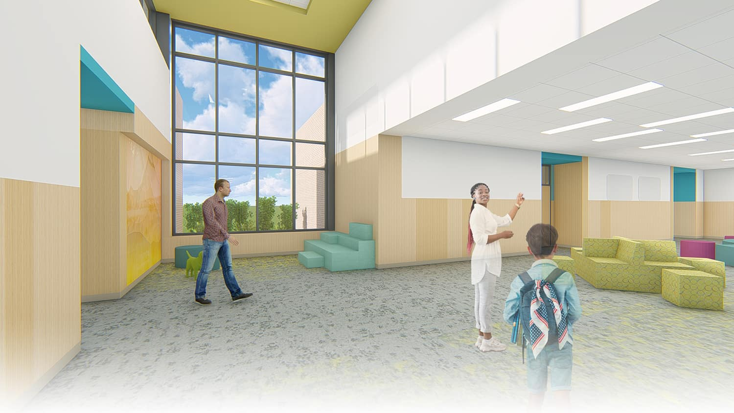Rendering of a student pod space with floor to ceiling window and playful furniture.