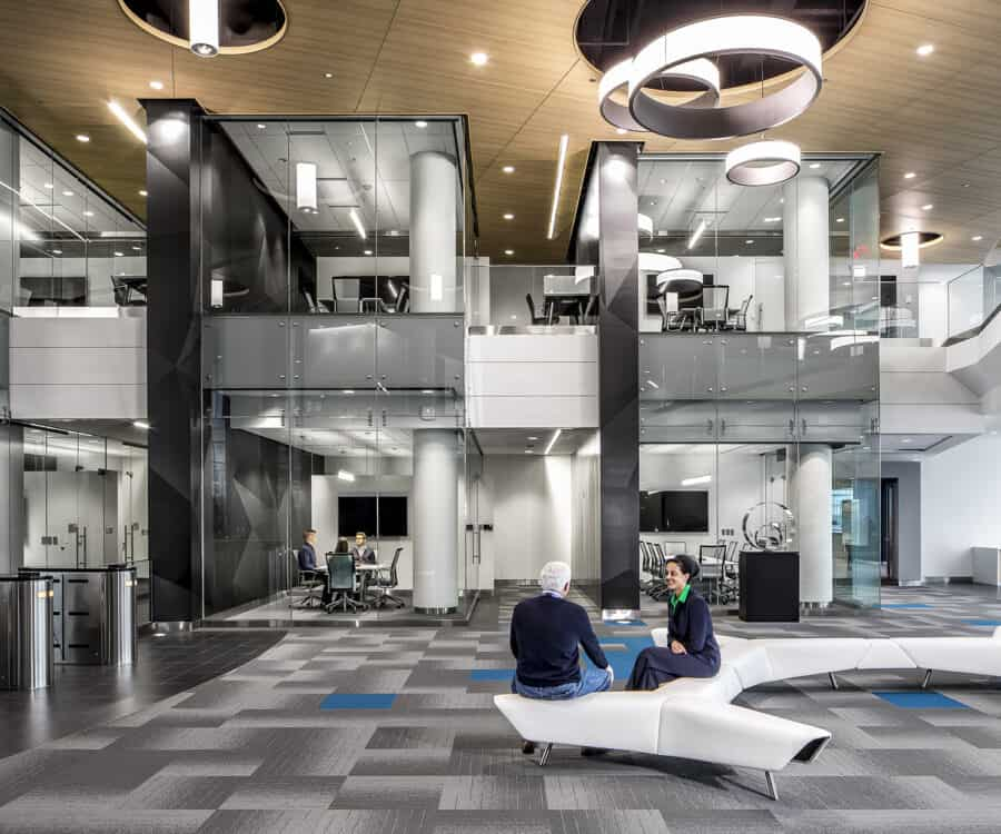 Interior entry with open seating and views to conference rooms.