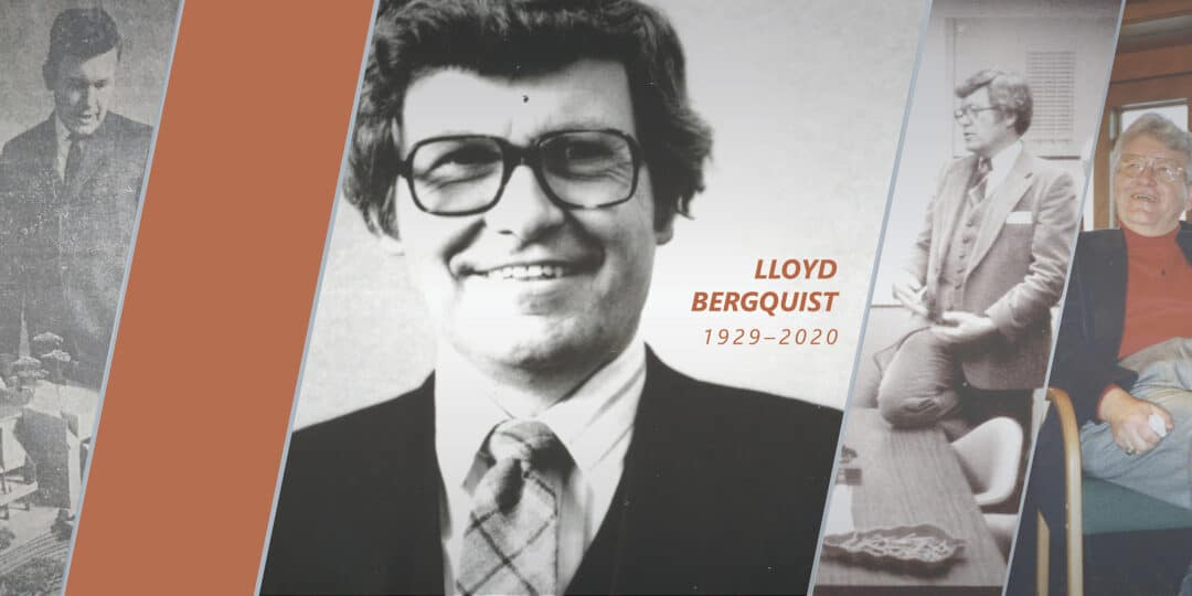 Images of Lloyd Bergquist with the years of his life, 1929 to 2020