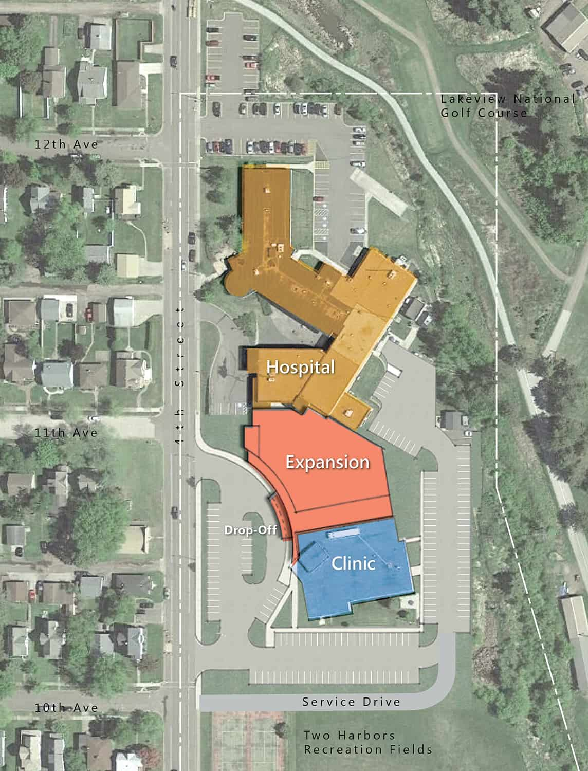A site plan of the Lake View campus shows the addition between the existing hospital and clinic facilities.