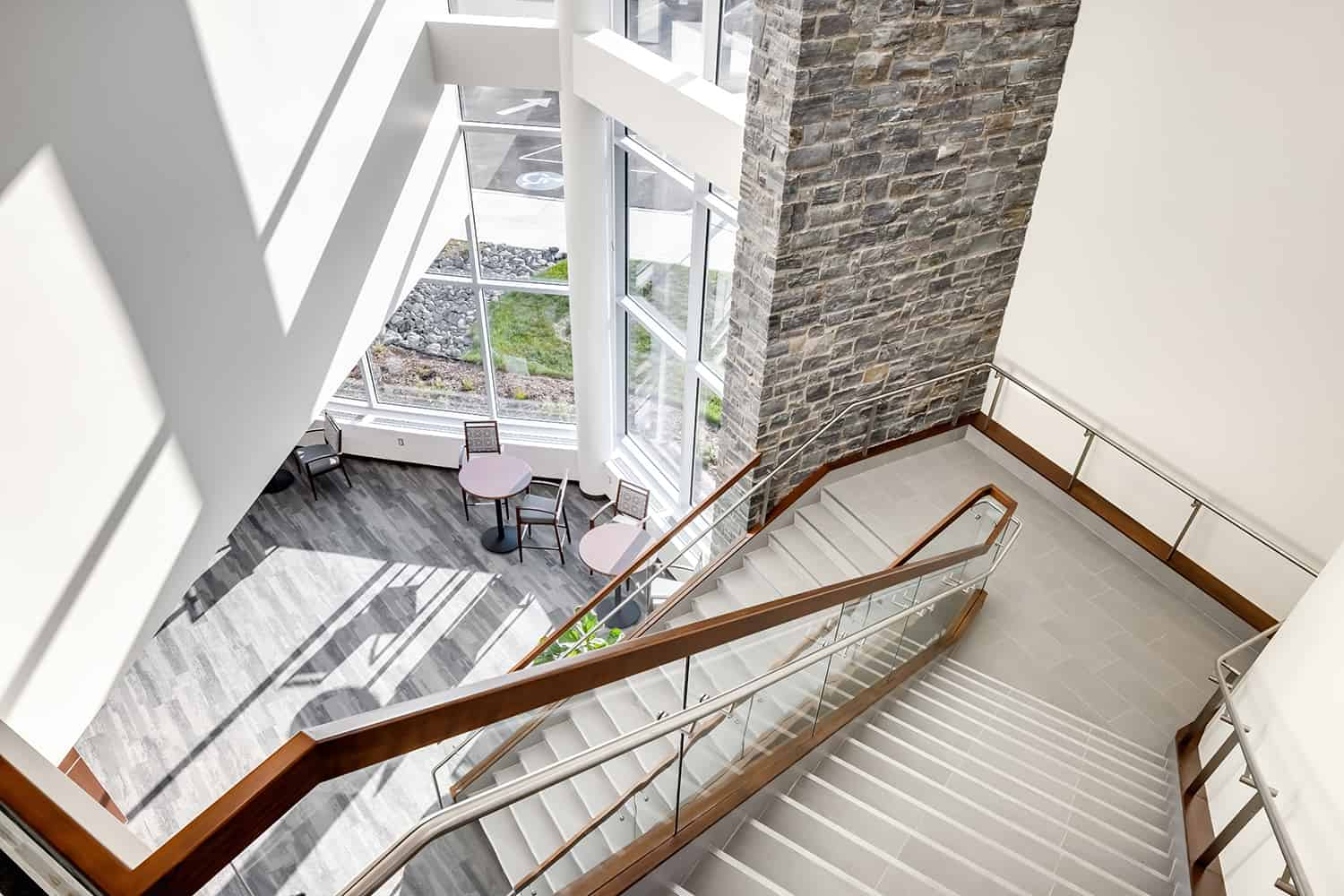 Looking down into the new wrapping stairwell leading to the hospital.