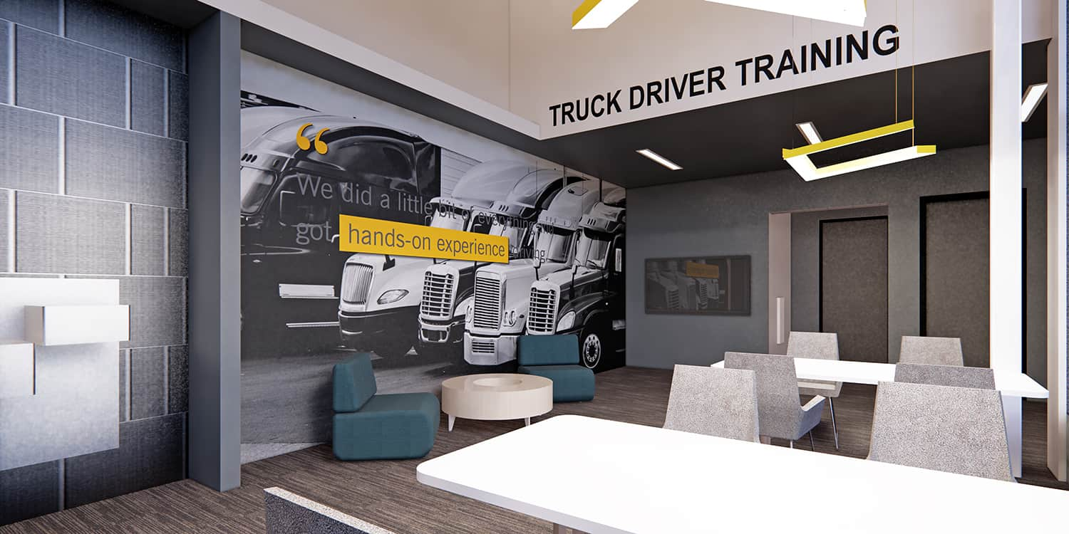 Rendering of the Truck Driver Training space.