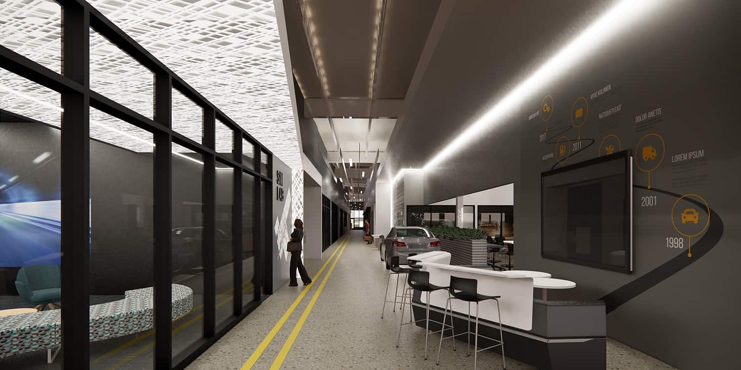 Rendering of a corridor with transportation themed wall graphics and breakout collaboration spaces.