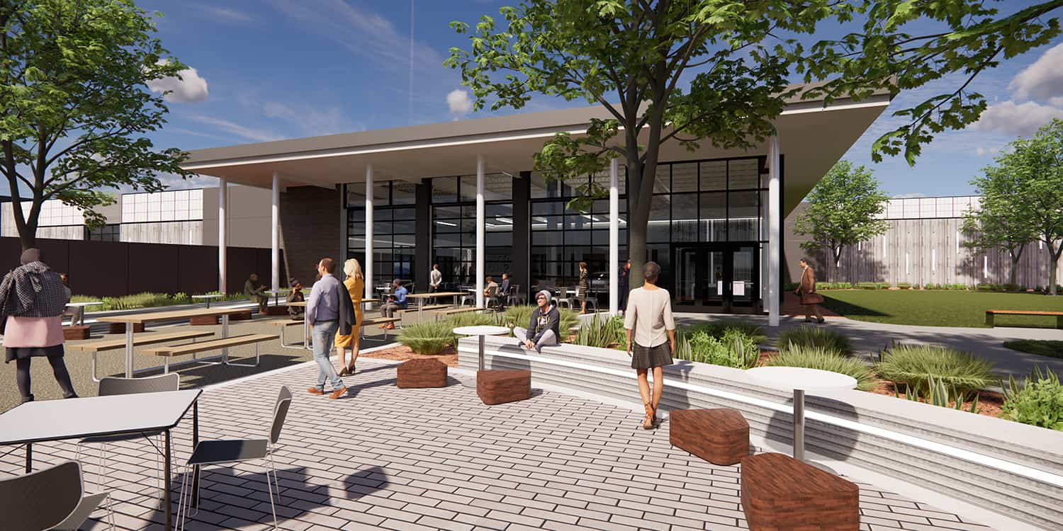 Rendering of the exterior plaza and entry into the Transportation Education Center.