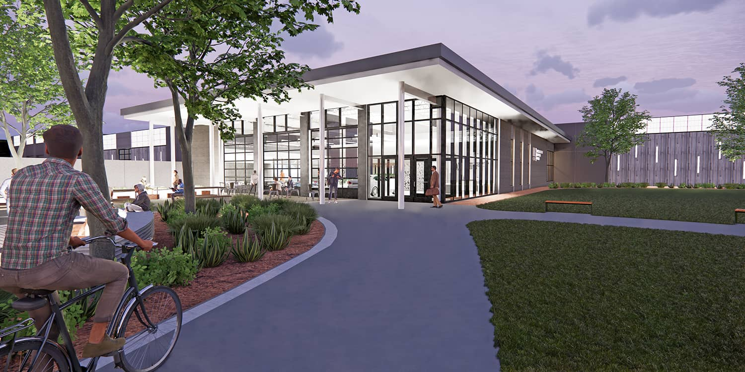 Rendering of the exterior entry to the Transportation Education Center, with pedestrian paths.