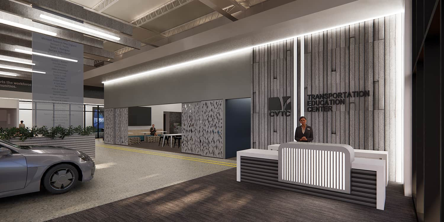 Rendering of the Transportation Education Center's lobby reception area, with automotive themed sculptural elements.