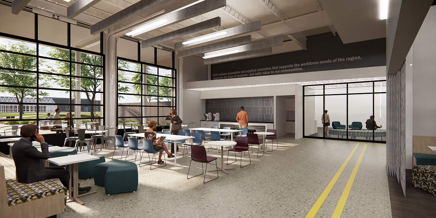 Rendering of the student gathering space in the lobby area, complete with garage door partitions.