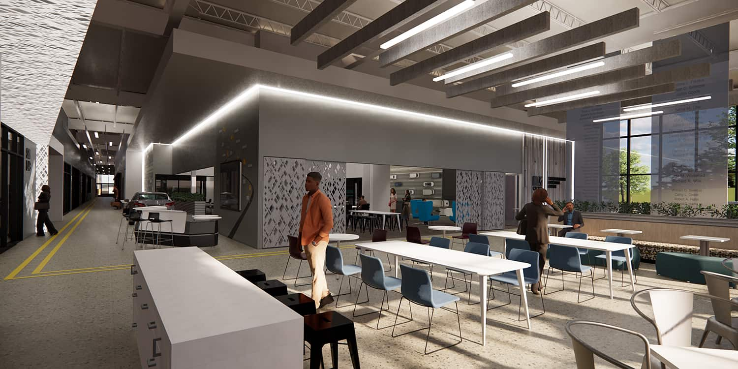 Rendering from the student lobby space into the main circulation corridor.