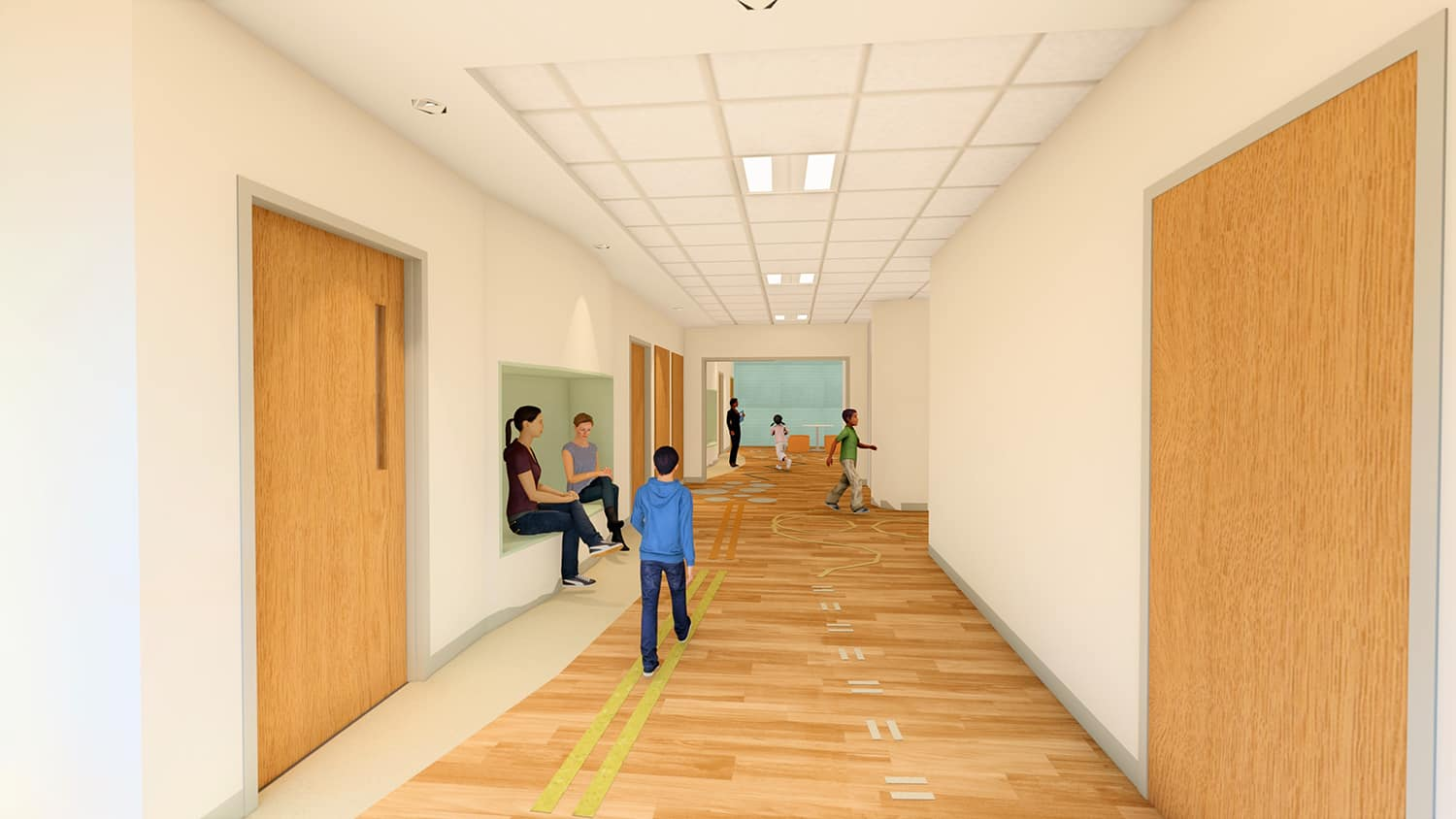 Rendering of the child unit's corridor with games floor patterning.