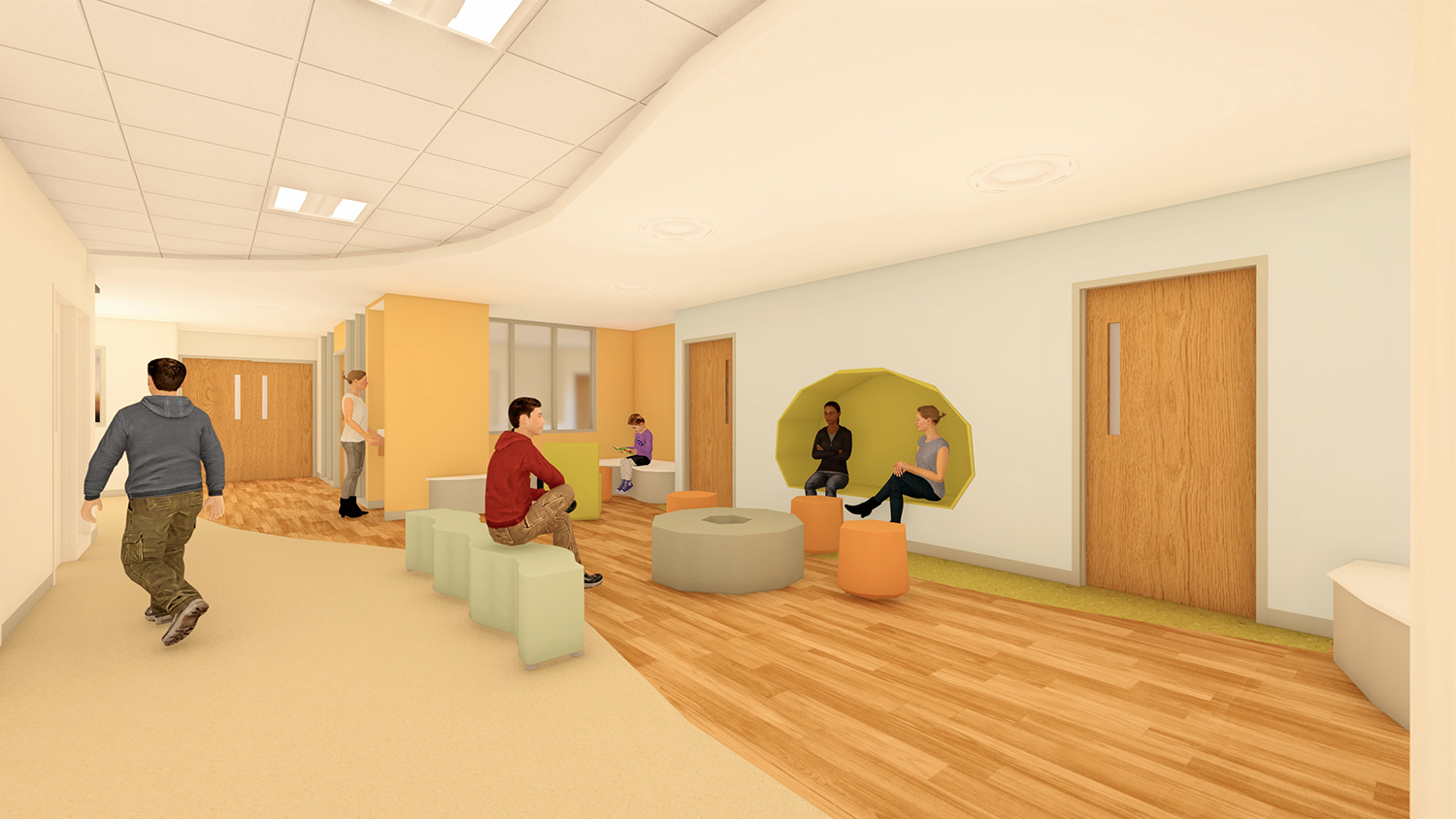 Rendering of the front porch with comfortable furniture and de-escalation resources.
