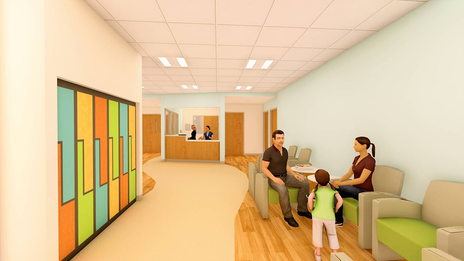A rendering of the child and adolescent psychiatry unit lobby, lockers, and registration.