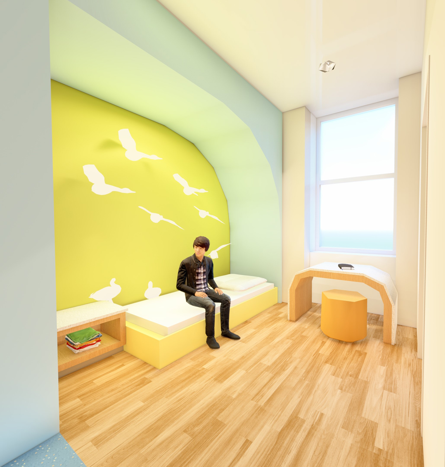 Rendering of an inpatient psychiatry room with bed, storage, desk, and wall graphics.