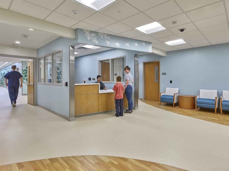 The reception desk that welcomes patients into the CAP unit.