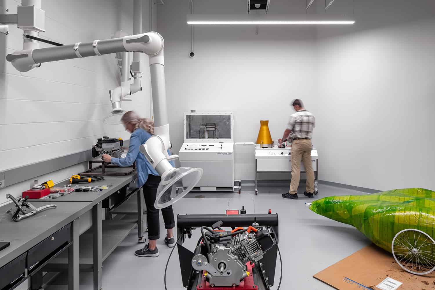 An engineering lab for vehicle testing.