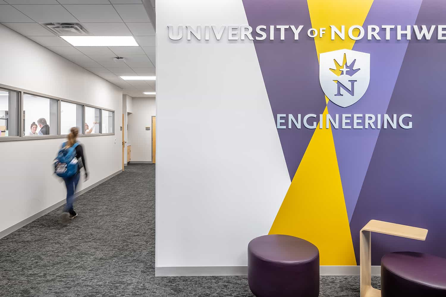 Branded entry space into the engineering facility.