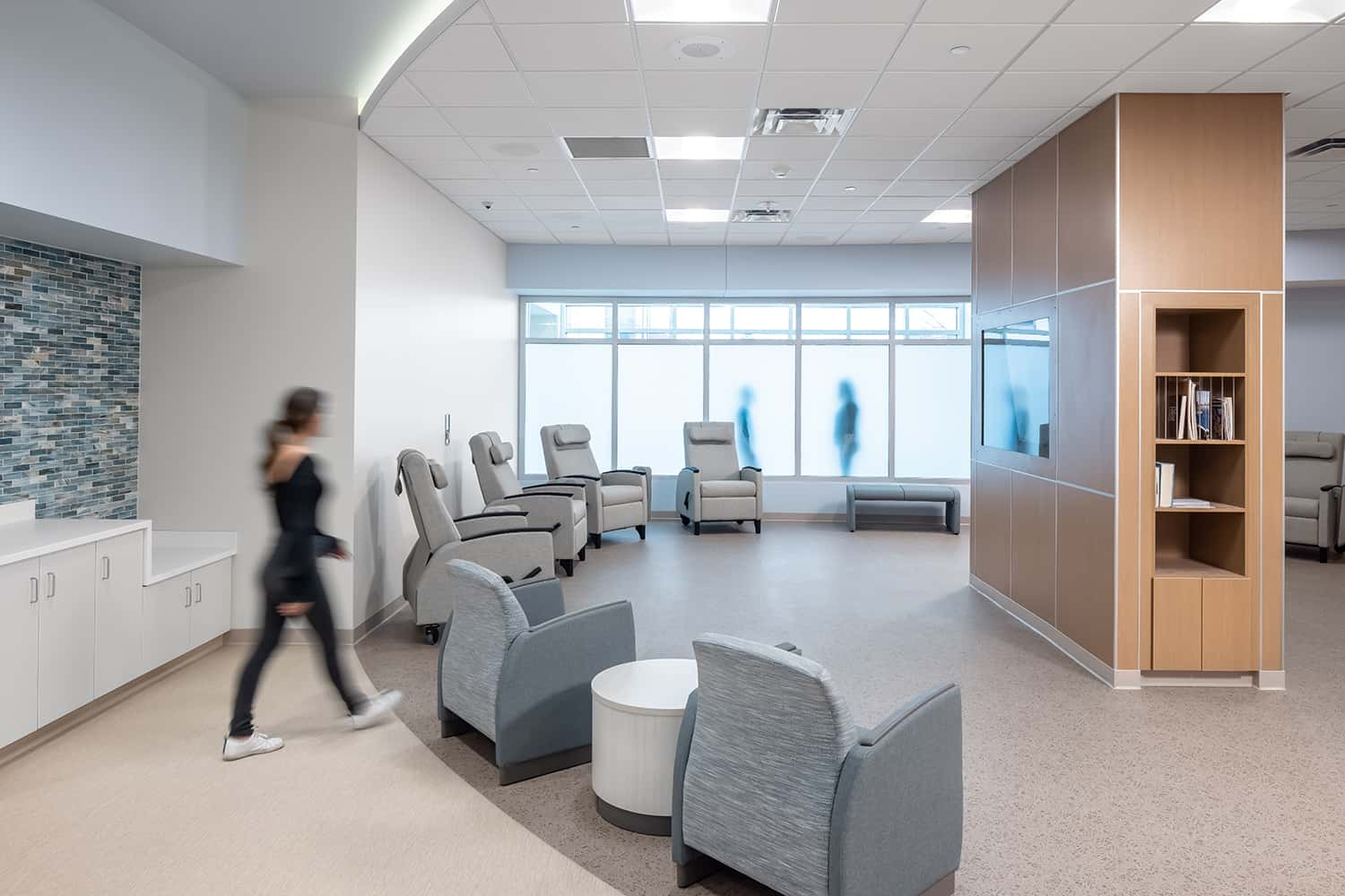 Alternate view of a group therapy space near patient refreshments.