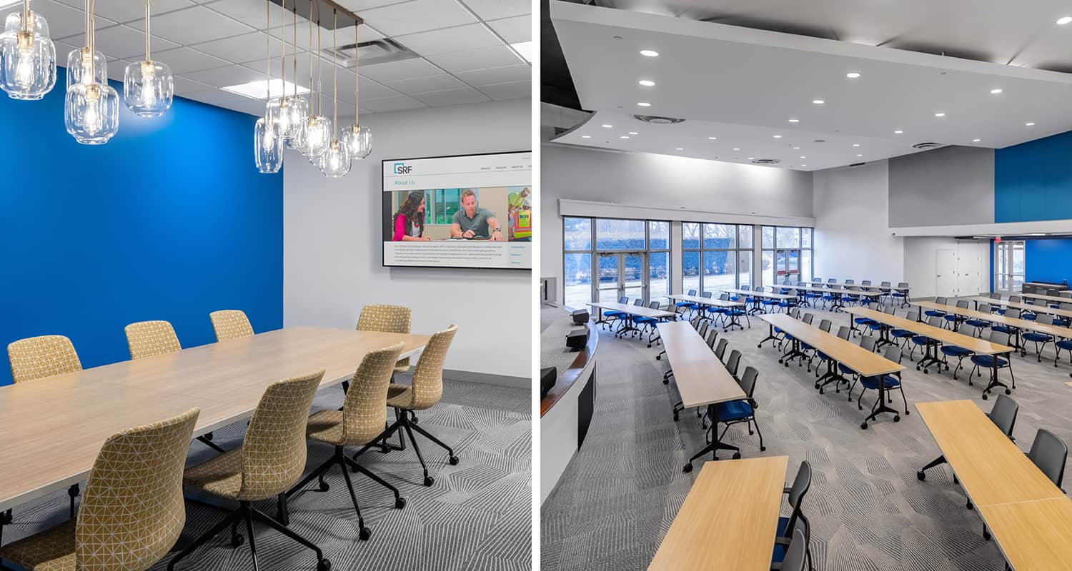 A conference room and a large event/training center with blue accent walls.